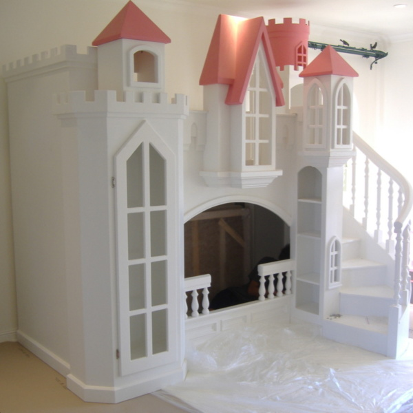 Princess Castle Bunk Bed with Curved Staircase