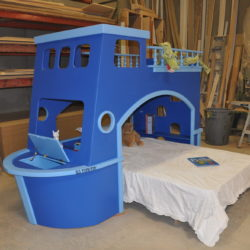 Tate's Tugboat Front View w Bow Hatch (toy storage) Open