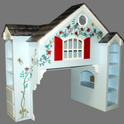Dollhouse Bunk Bed - Cat In The Hat Colors w Optional Side Bookcase - Hand Painted