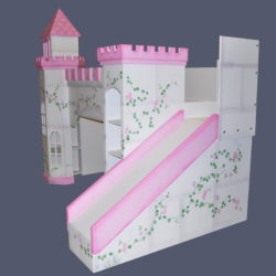 Leeds Castle Bunk Bed - Right Side View - Hand Painted w optional Slide & Octagonal Tower