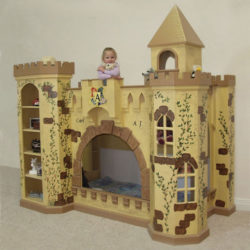 Castle bunk bed, hand painted (crackle paint version) with little girl holding stuffed animal