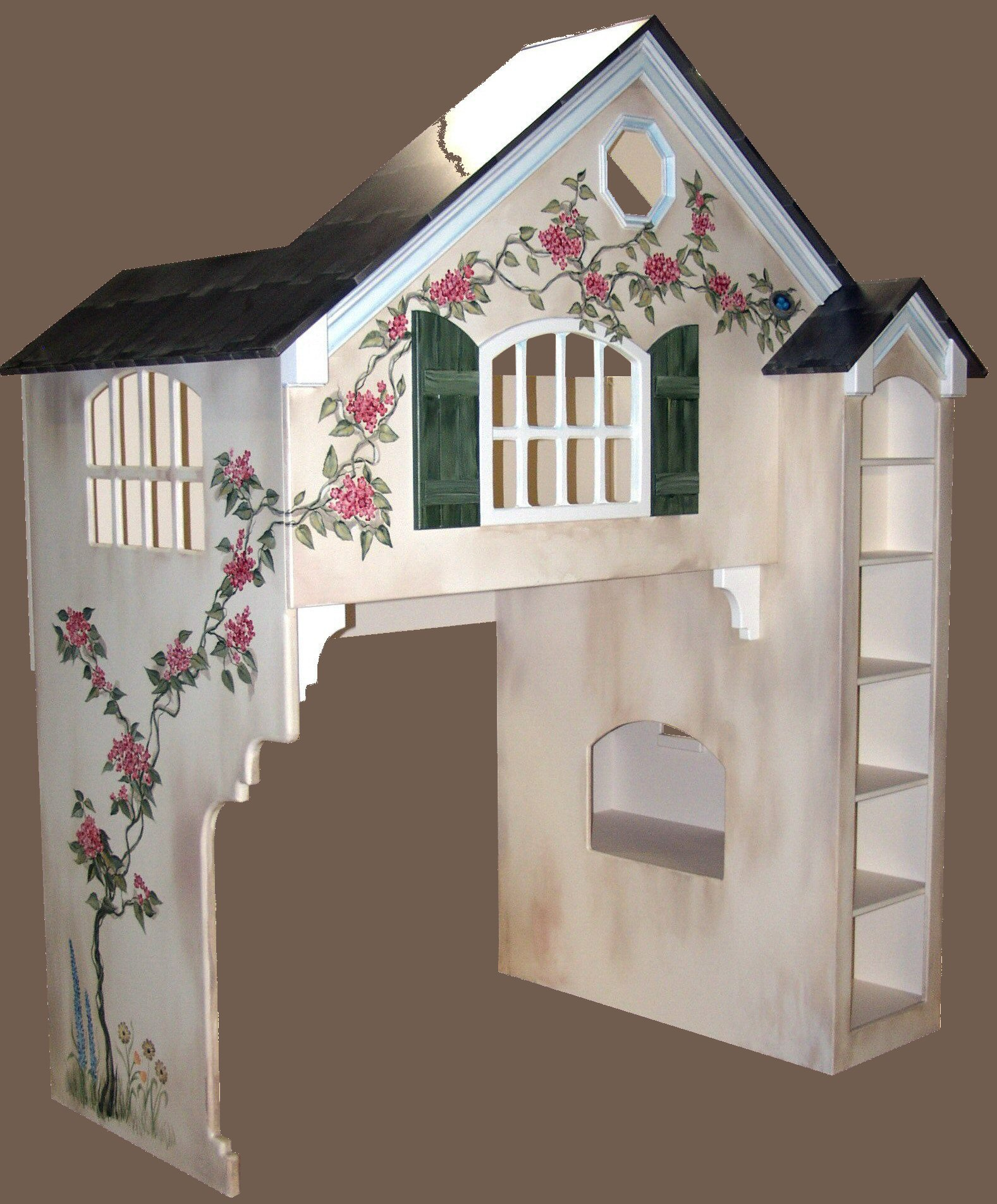 ... Bed w/Green Shutters ... - Blueprints For The Dollhouse Bunk Bed (Twin