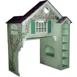Green Dollhouse Bunk Bed w/Green Shutters