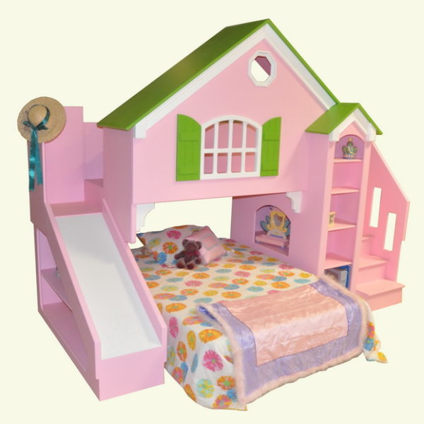Dollhouse Bunk Bed With Optional Slide and Staircase - Base Painted