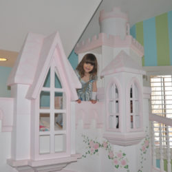 Braun Princess Castle Bunk Bed with turrets
