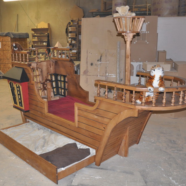 Pearl Pirate Ship Bed w' Trundle, Crows Nest, and More!