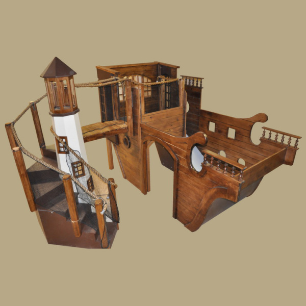 Wooden Pirate Ship Playhouse w' Light House
