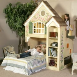 Dollhouse Bunk Bed Matching Set Including Dresser and Wall Shelf