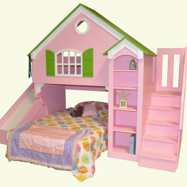 Dollhouse Loft Bed With Slide And Staircase