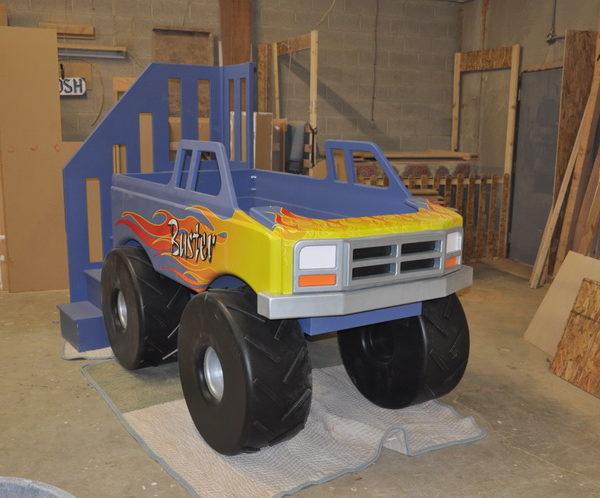 Blue Monster Truck Bed