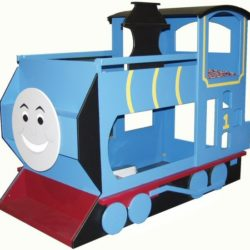 Blue Train Bunk Bed w/Smiley Face