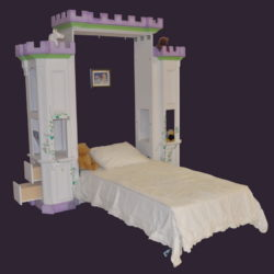 Castle Murphy Bed w/Drawers, Night Stands & Shelves