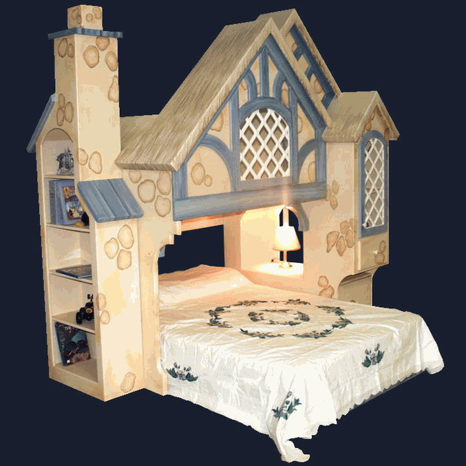 Snow White Bed Cottage Bunk Bed w Chimney Bookcase - Twin Over Full