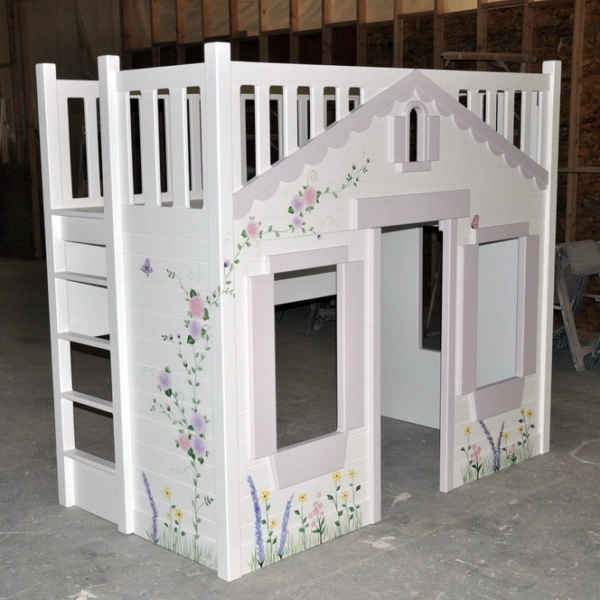 Mindy Bunk Bed - Hand Painted w Optional Built In Ladder