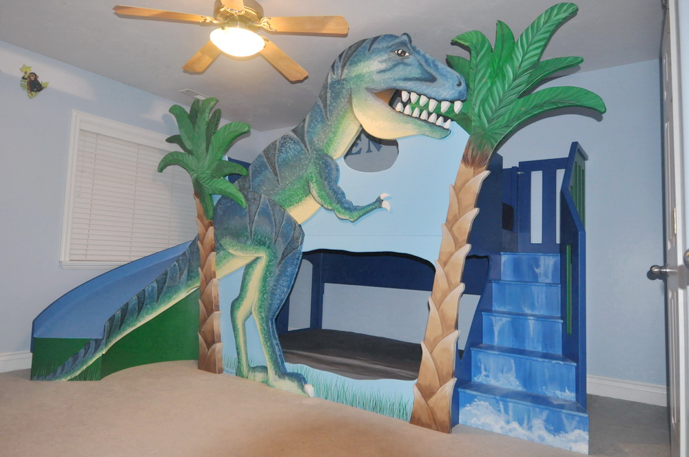 T-Rex Dinosaur Bunk Bed / Loft Bed / Indoor Playhouse