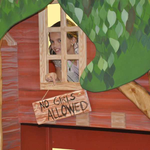 Treehouse Bunk Bed Playhouse with Sign