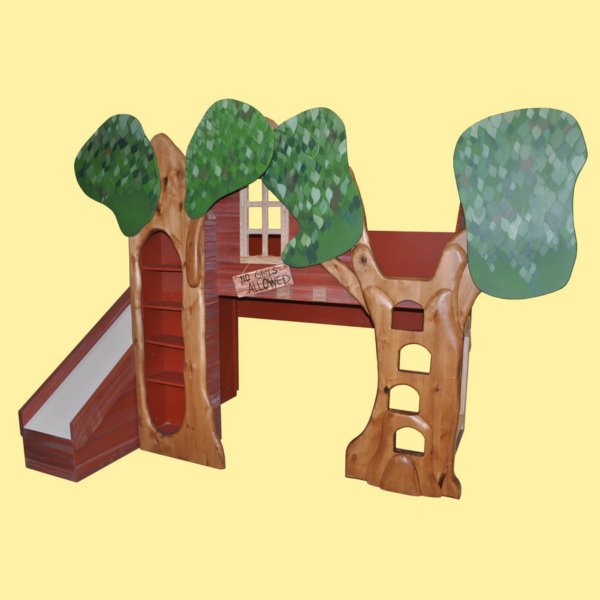 Treehouse Bunk Bed Playhouse with Slide