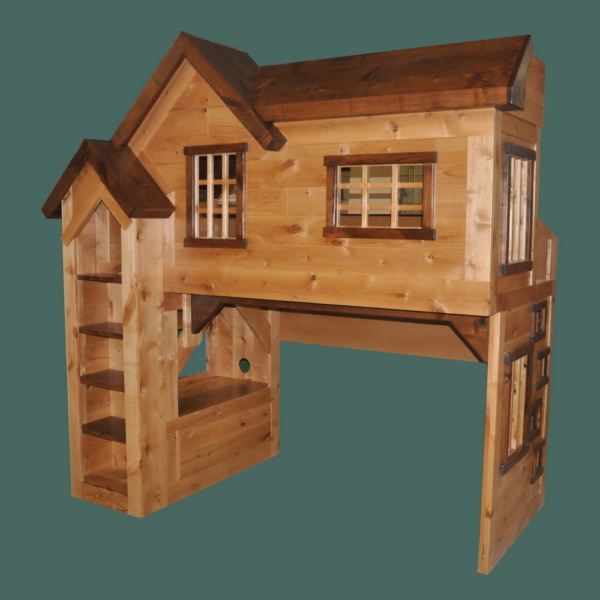 Indoor Bunkbed / Playhouse - Glazed Knotty Alder