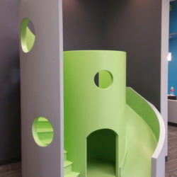 Curved Modern Indoor Playhouse with Slide and Stairs