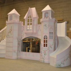 Princess castle bed with curving staircase, curving slide, and hand-painted roses.