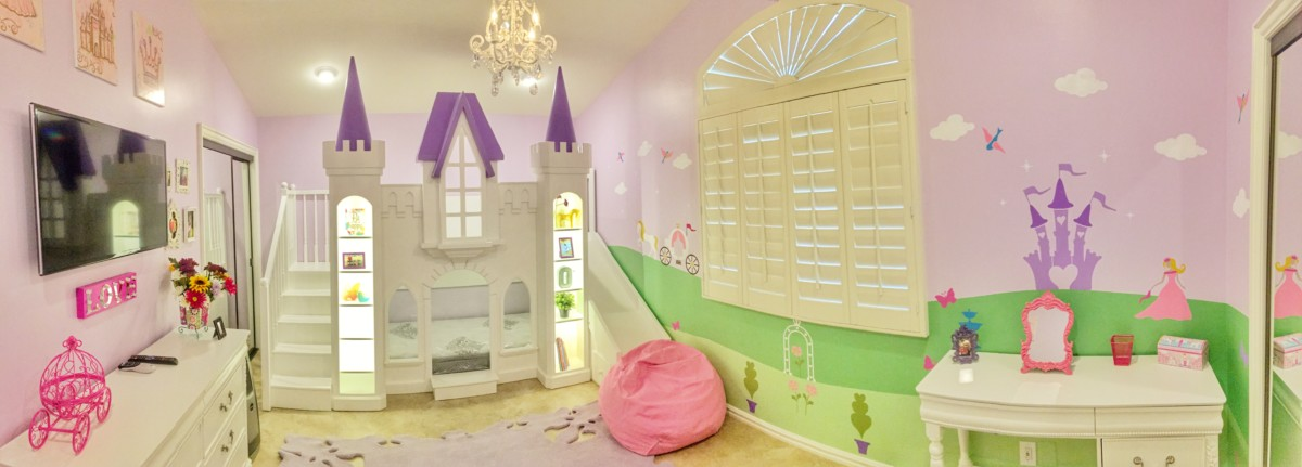 This San Marcos found the perfect home in this green and purple princess bedroom.