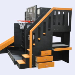 The Ultimate Basketball Bunk Bed with Included Desk and Drawers