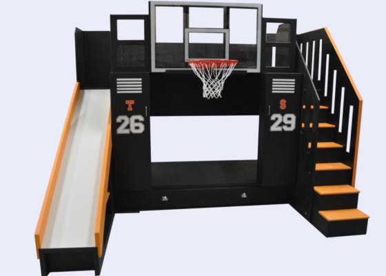 Ultimate Basketball Bunk Bed with stairs, slide, and basketball hoop.