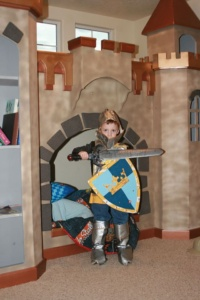 Knight in Castle with Sword, Shield, and Armor