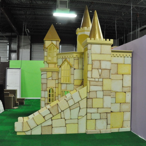 Linfield Custom Castle with slide and five turrets.