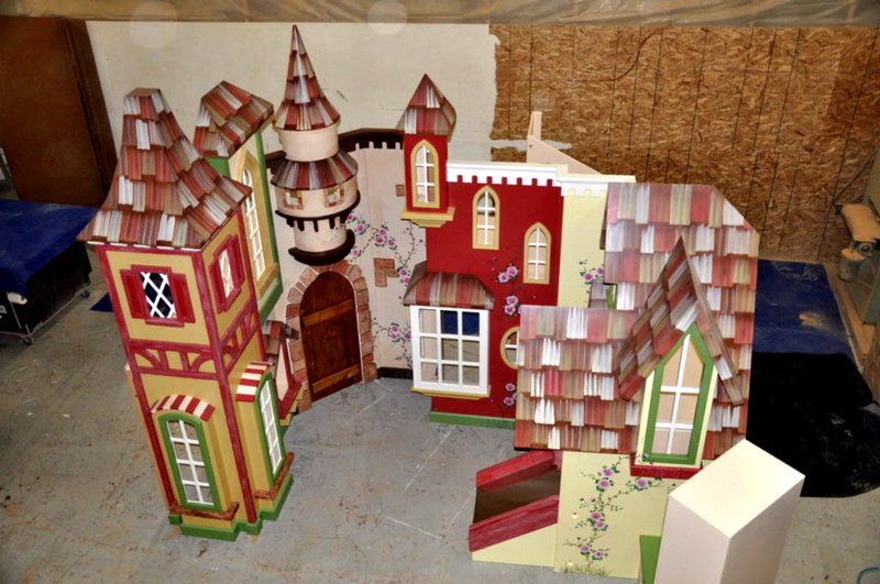 Custom indoor village playhouse for a waiting room.