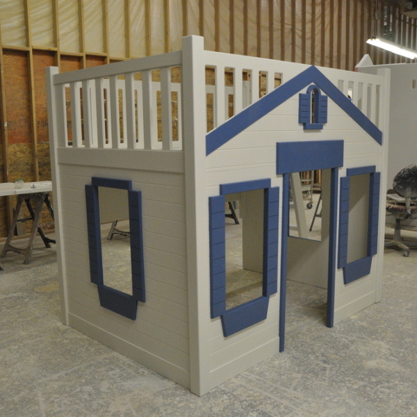 Mason Cabin Style Bunk Bed with Blue Trim