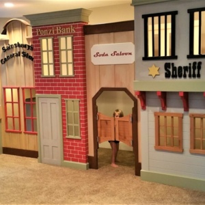 Old West Storefront with Bank, Saloon, Sheriffs Office and General Store.