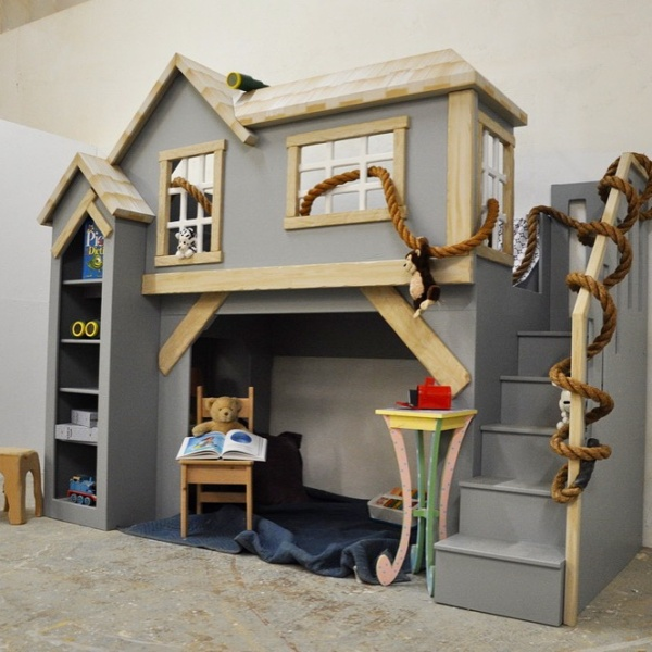 Spanky's clubhouse, gender neutral playhouse with staircase and shelves