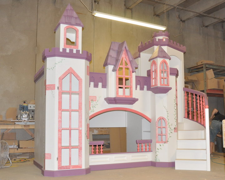 Braun Castle Bunk Bed, Pink and Purple Trim, Hand Painted, Princess Castle Bed, Princess Castle Bunk Bed, Princess Bed, Princess Bedroom