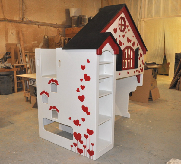 Dollhouse Loft Bed with Hearts