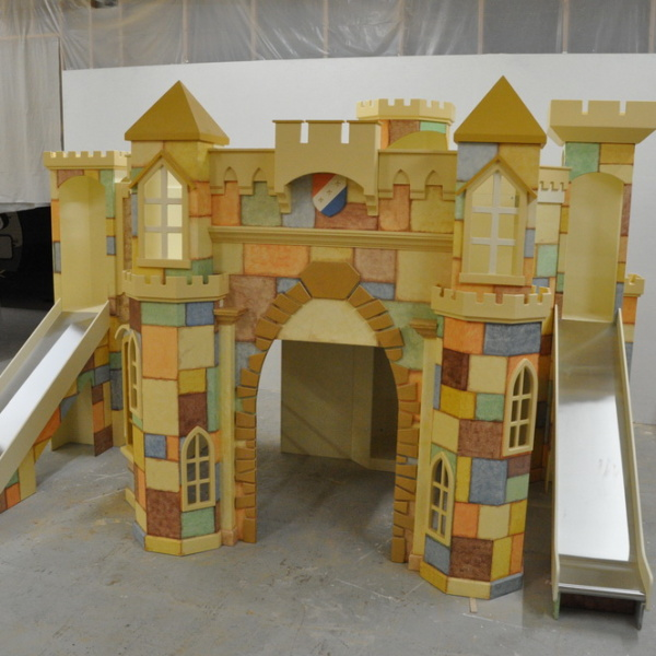 Large Indoor Castle Playhouse with Slides and Stairs
