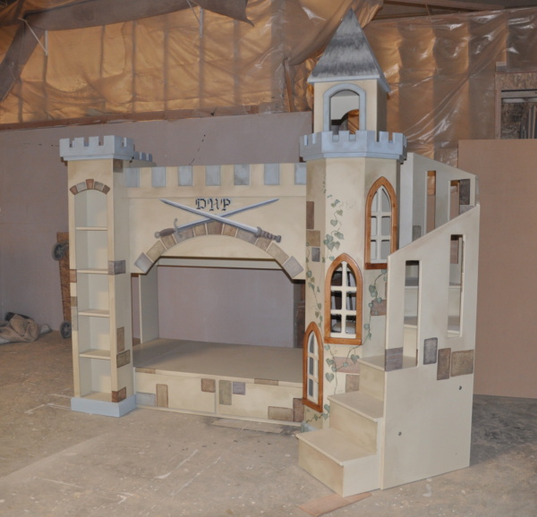 Boys Castle Bunk Bed - with wrap around staircase and custom hand painting