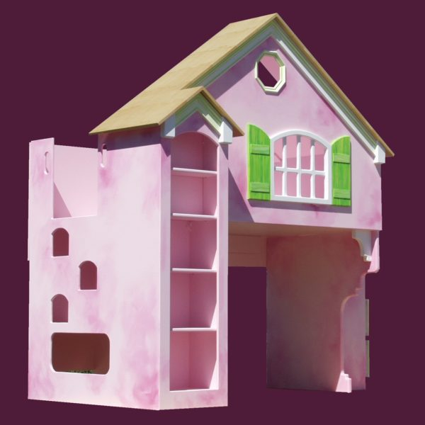 Pink Dollhouse Bunk Bed w/Green Shutters