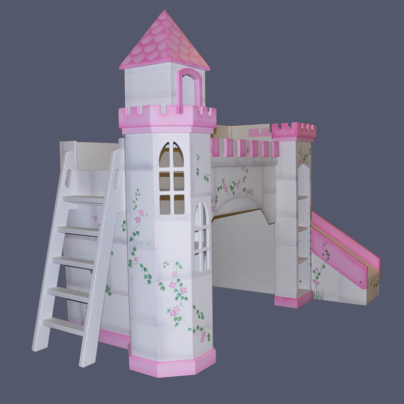 Leeds Castle Bunk Bed - Hand Painted w Octagonal Tower, Slide & Ladder