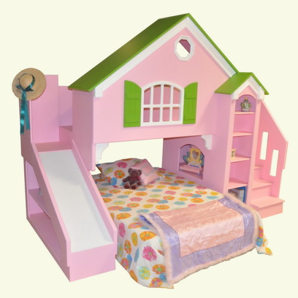 Dollhouse Bunk Bed w/Optional Slide and Stairs