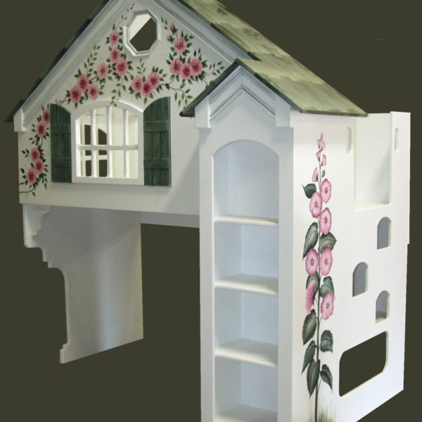 Dollhouse Bunk Bed w/Green Shutters