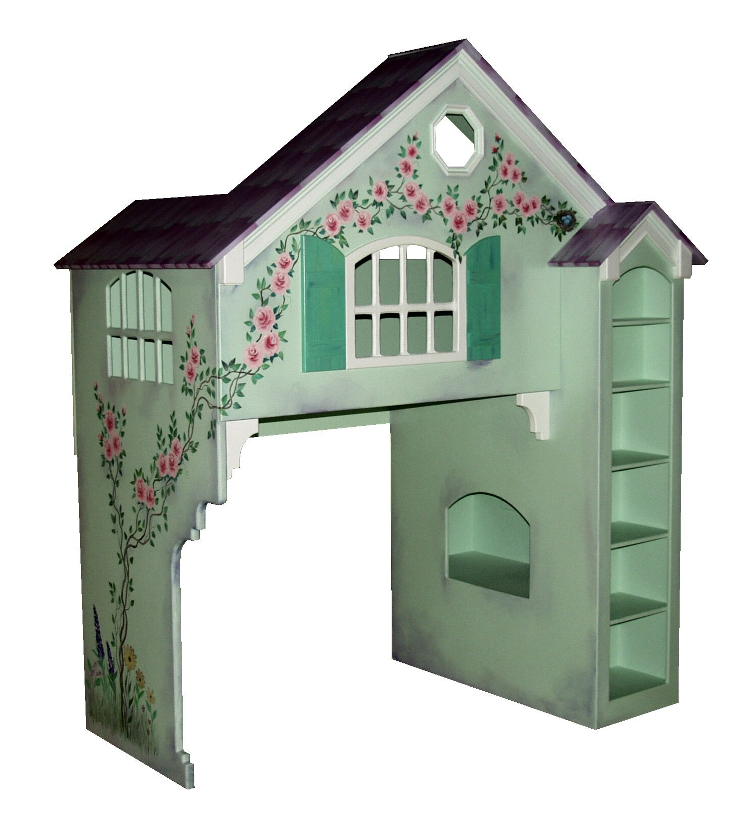Green Dollhouse Bunk Bed w/Green Shutters