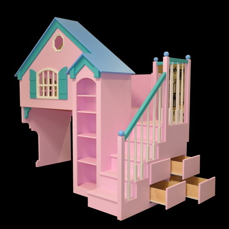 "Dollhouse Bunk Bed With Optional ""Spindled"" Staircase and Drawers - Base Painted"