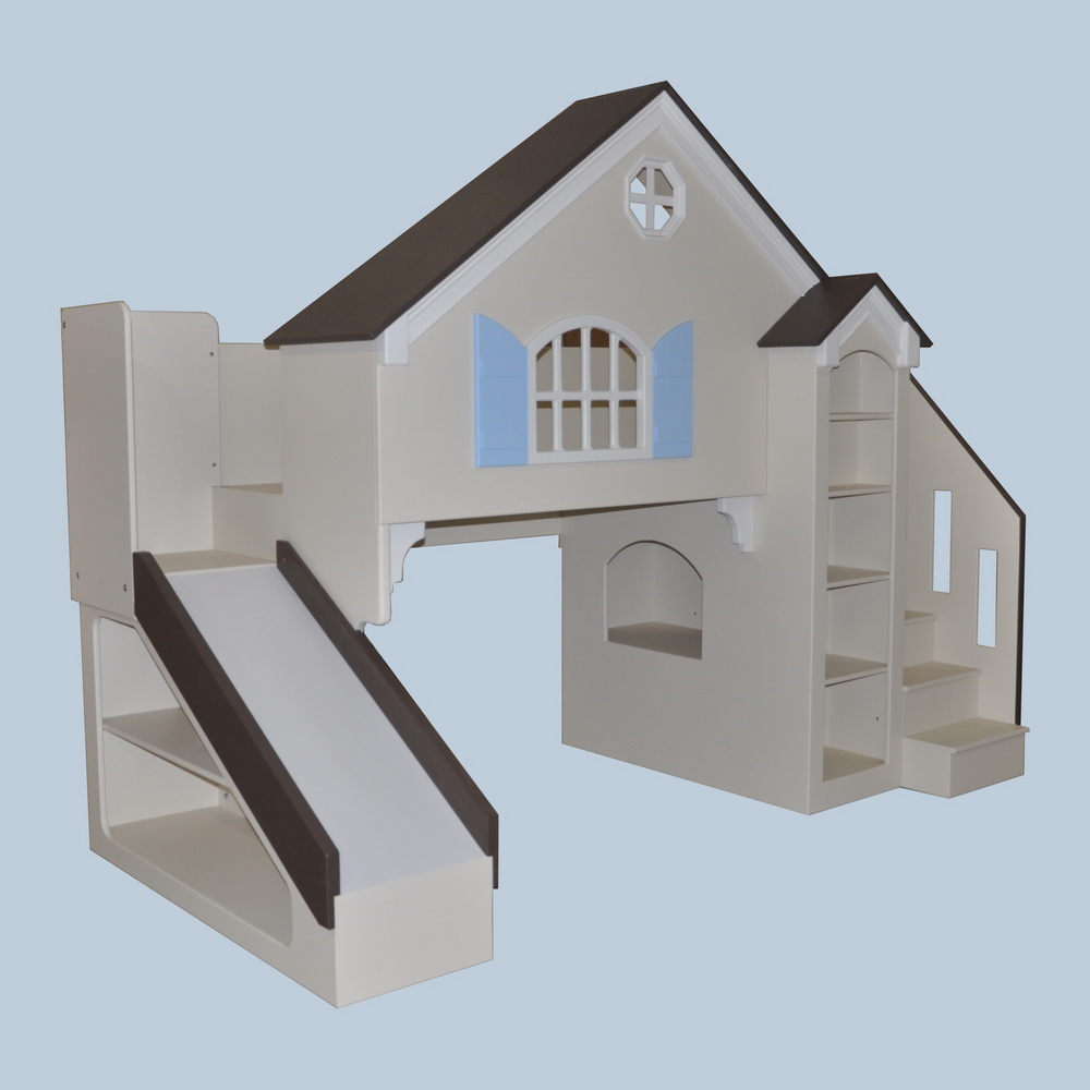 Dollhouse Kids Loft Bed Twin Full W Slide Staircase on playhouse designs and plans
