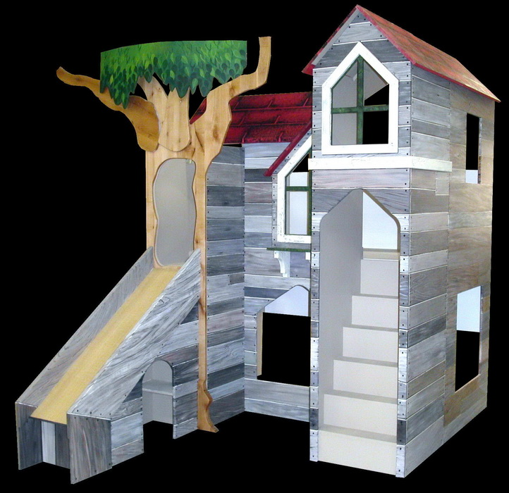 Barnwood Bunk Bed Indoor Playhouse Tanglewood Design