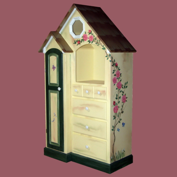Abbyville Dresser, hand painted with flowers and butterflies.
