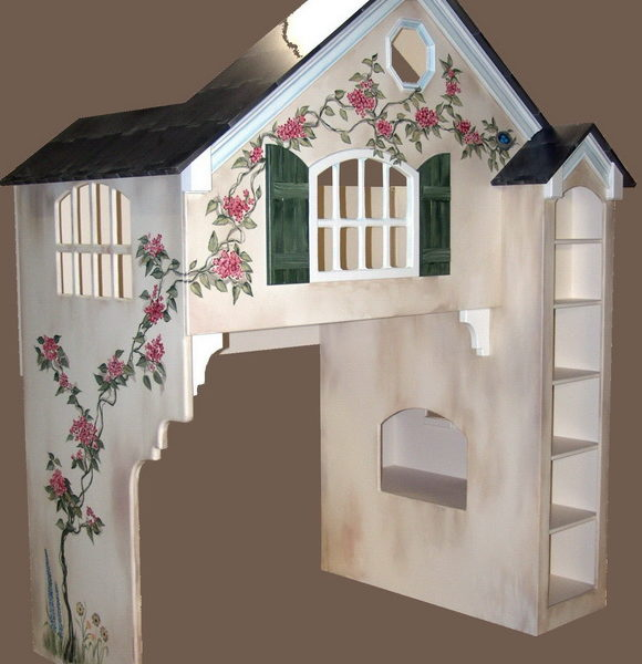 Dollhouse Kids Loft Bed - Custom over Twin