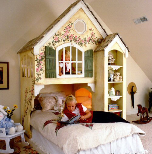 Dollhouse Kids Bed Loft Handpainted - Small