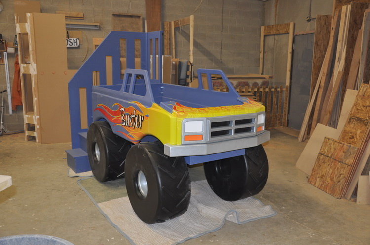 Blue Monster Truck Bed