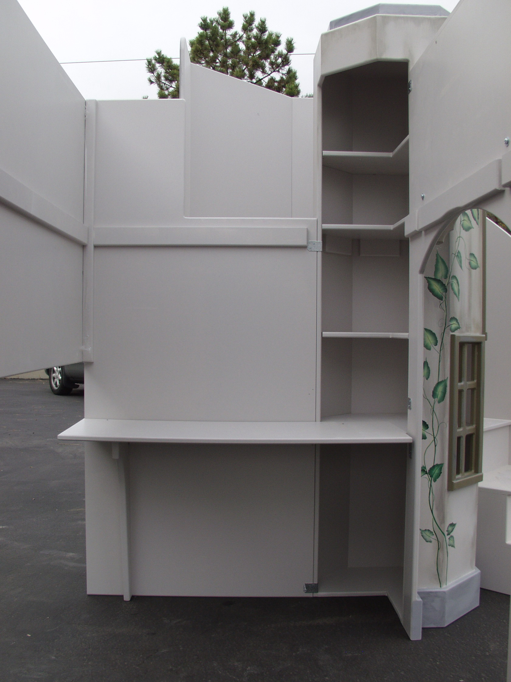 Sports Arena Bed/Playhouse w/Desk and Shelves on the Inside